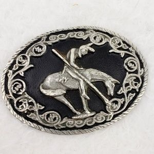 End of the Trail Native American Pewter Buckle